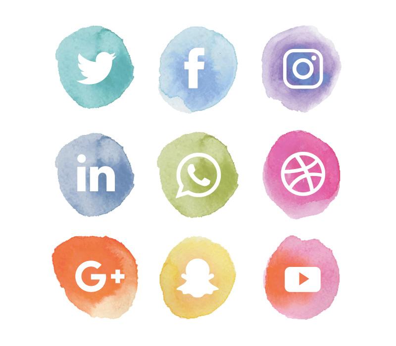 水彩风格社会化媒体图标矢量素材4(EPS+AI+PNG)