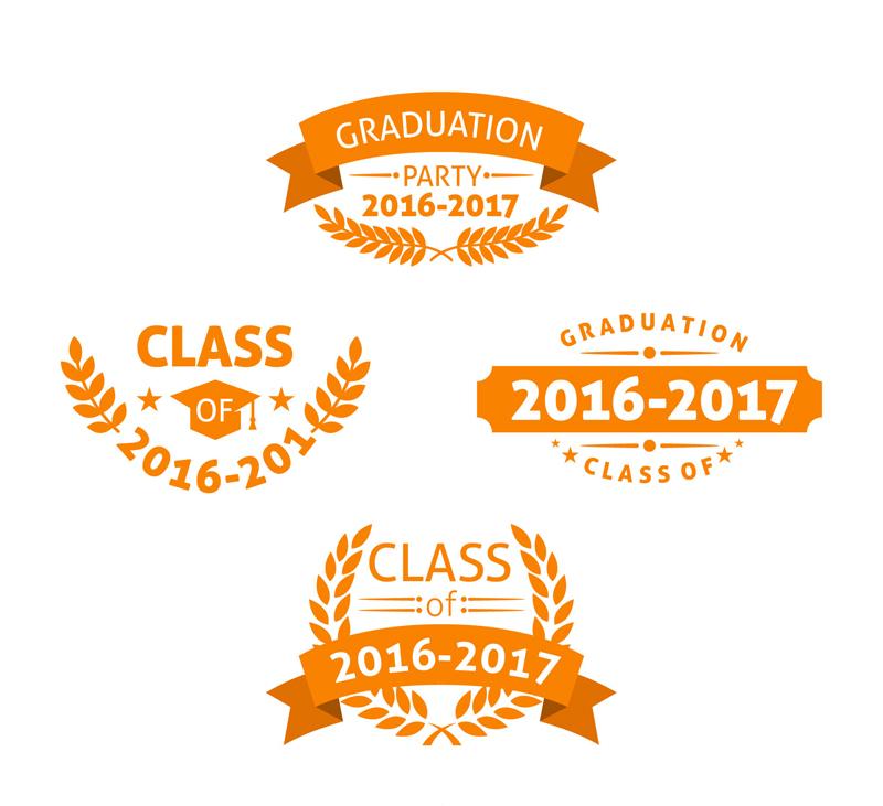 4款橙色校園派對標簽矢量素材