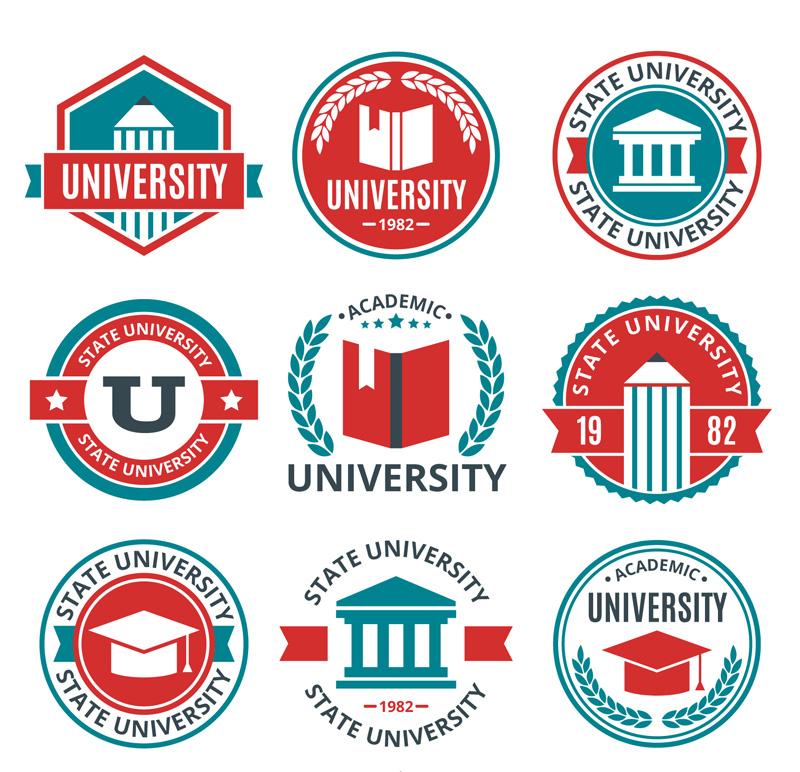 9款創意大學校園標簽矢量圖