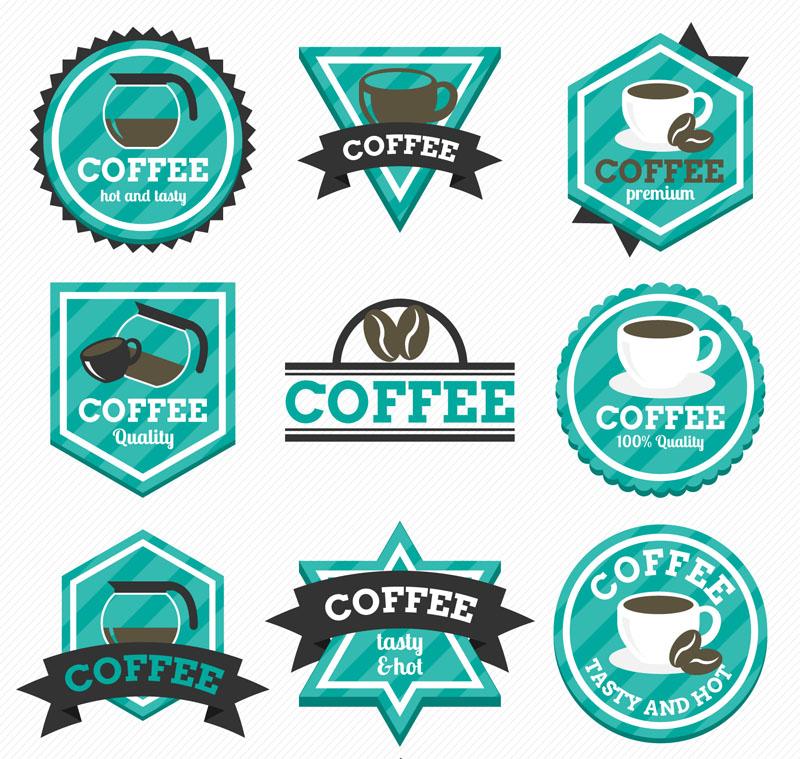 9款藍綠色咖啡標簽矢量素材