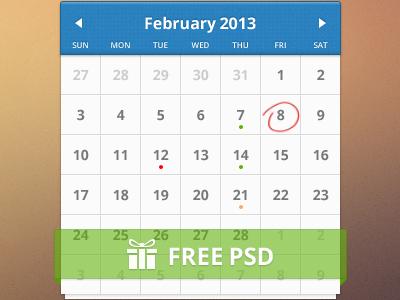 清晰日历单张PSD素材