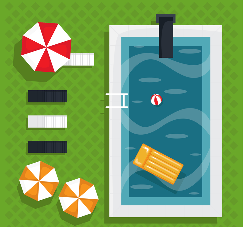 創意夏季游泳池俯視圖矢量素材