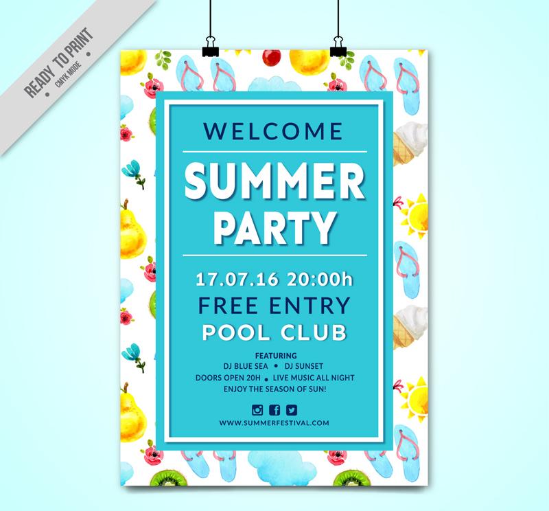 彩色夏季泳池派對海報矢量圖