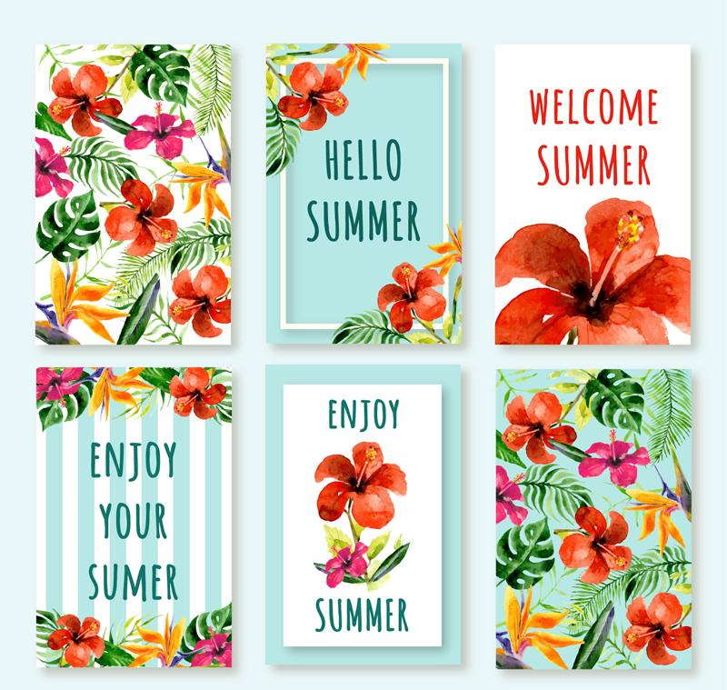 6款夏季熱帶花卉卡片矢量圖