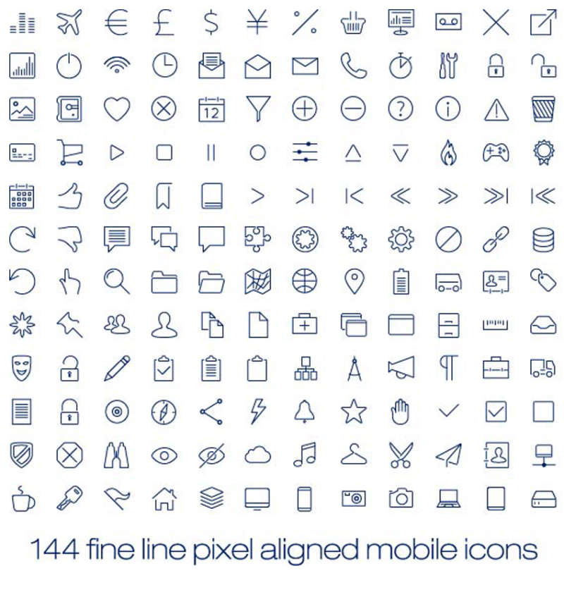 简易线性的手机界面设计矢量图标素材下载