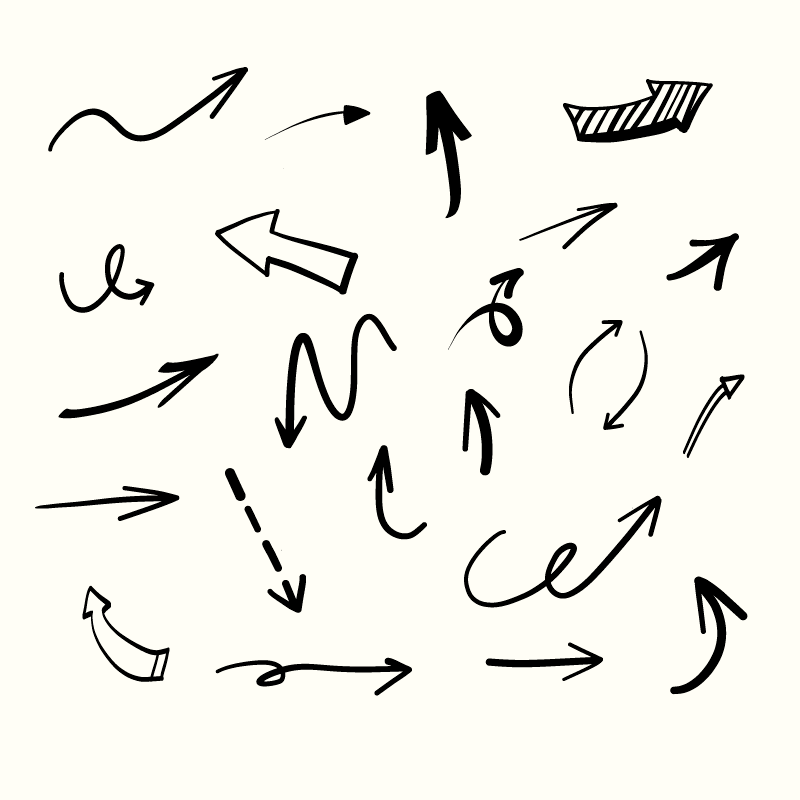 手绘风格箭头矢量素材