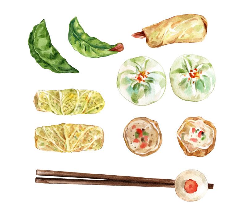 水彩风格的包子和饺子矢量素材下载(EPS)