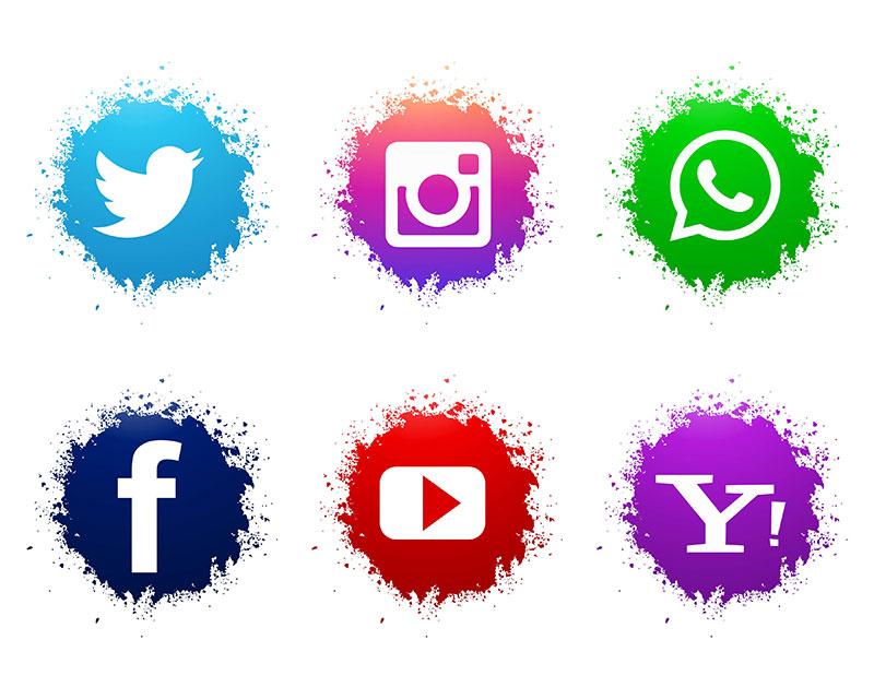 抽象水彩社会媒体图标矢量素材下载(EPS)