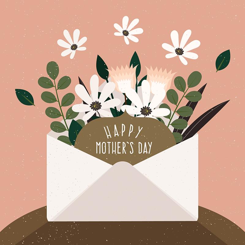 信封装满鲜花的母亲节背景矢量素材下载(EPS+AI)