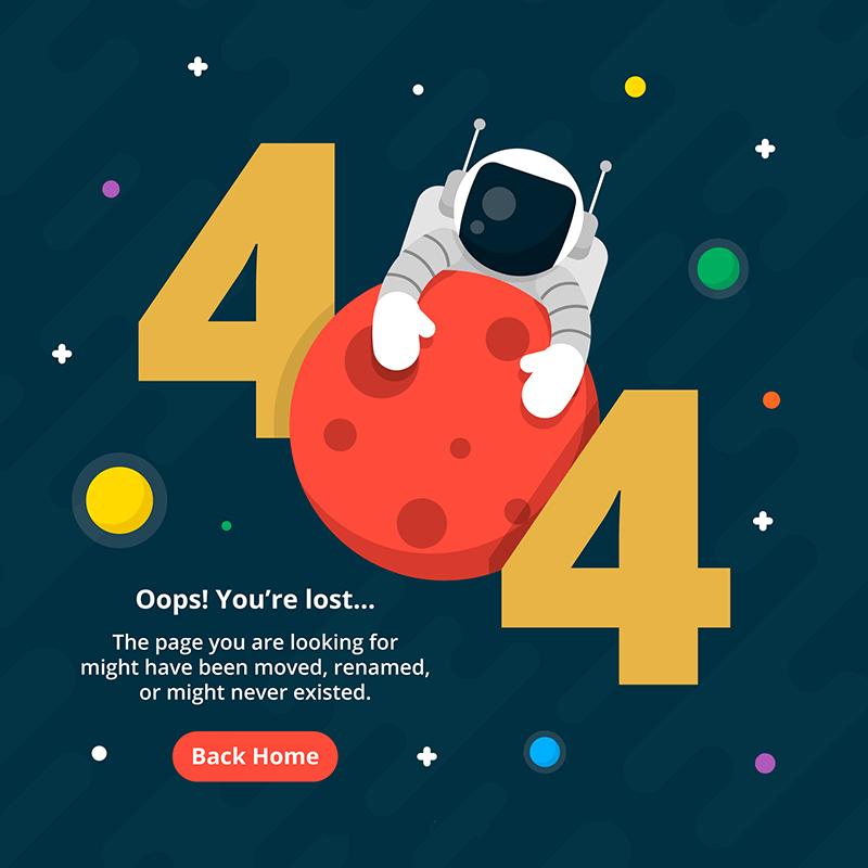 宇航员设计404错误页面矢量图素材下载(EPS)
