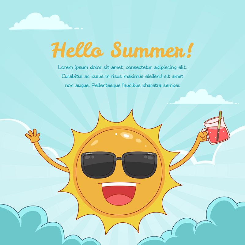 有趣的太阳元素夏天背景矢量图素材下载(EPS+AI)