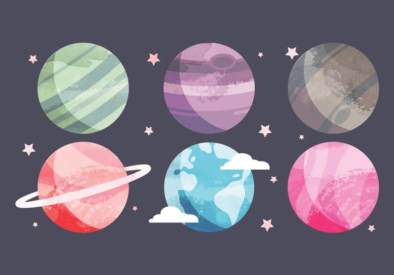 水彩行星矢量素材(EPS+AI+SVG)
