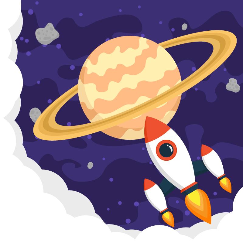土星背景矢量素材(EPS+SVG)