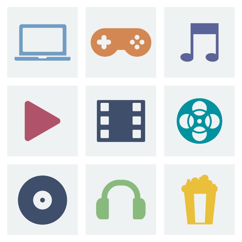 扁平风格娱乐类图标矢量素材(EPS+PNG)