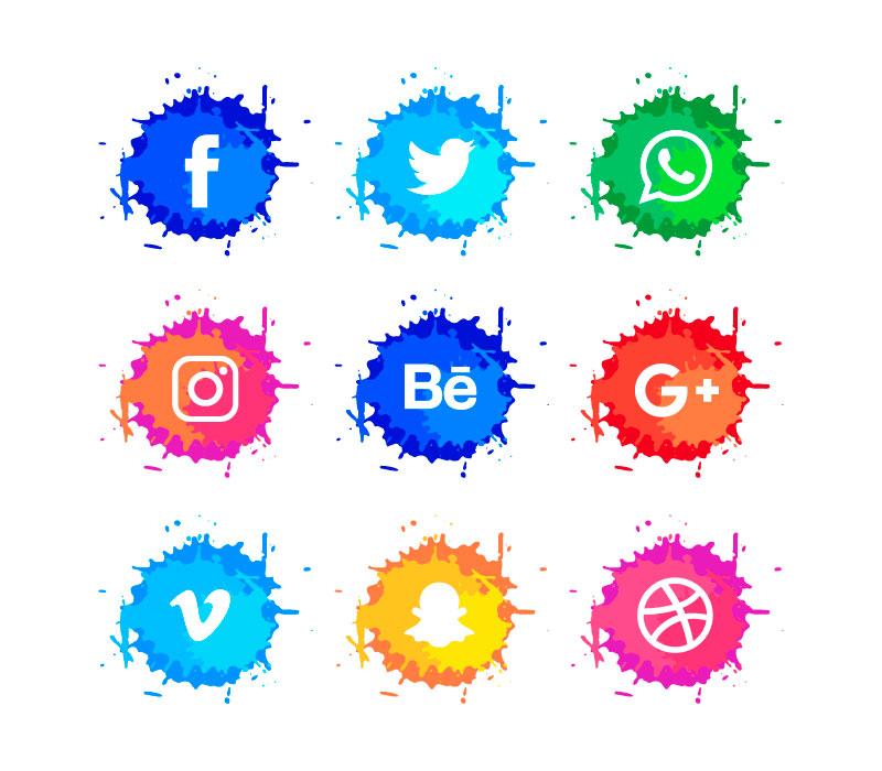 水彩风格社会化媒体图标矢量素材2(EPS+AI+PNG)