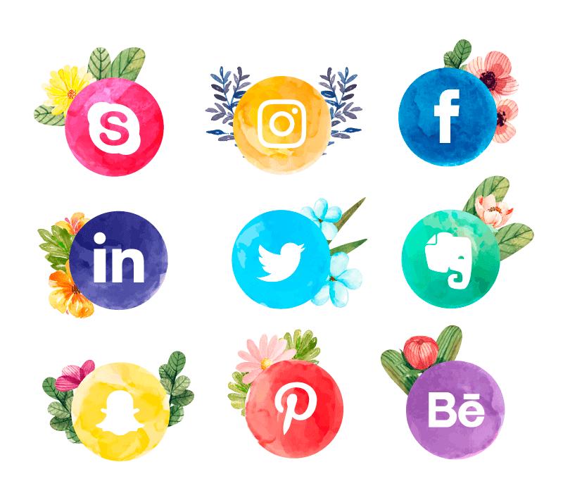 水彩花卉社会化媒体图标矢量素材(EPS+AI+PNG)