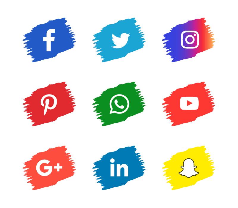 笔触风格社会化媒体图标矢量素材(EPS+PNG)