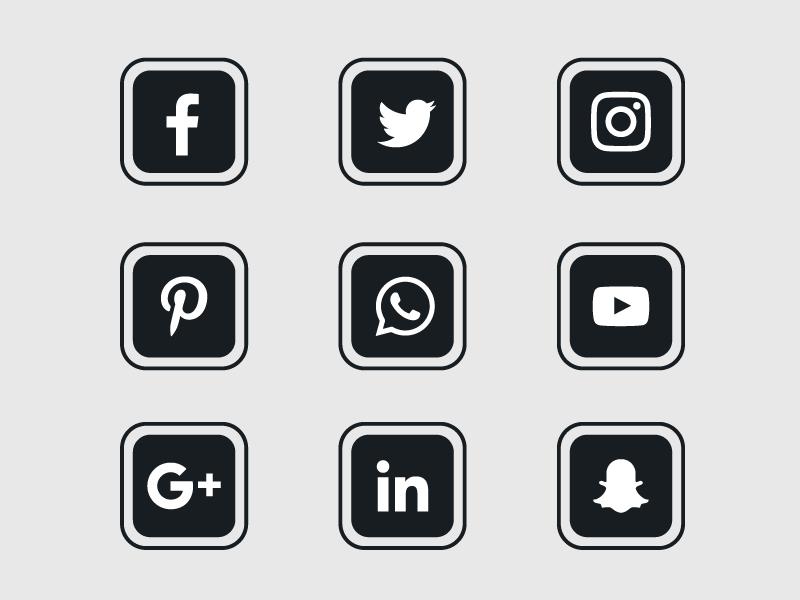 黑色扁平社会化媒体图标矢量素材(EPS+PNG)