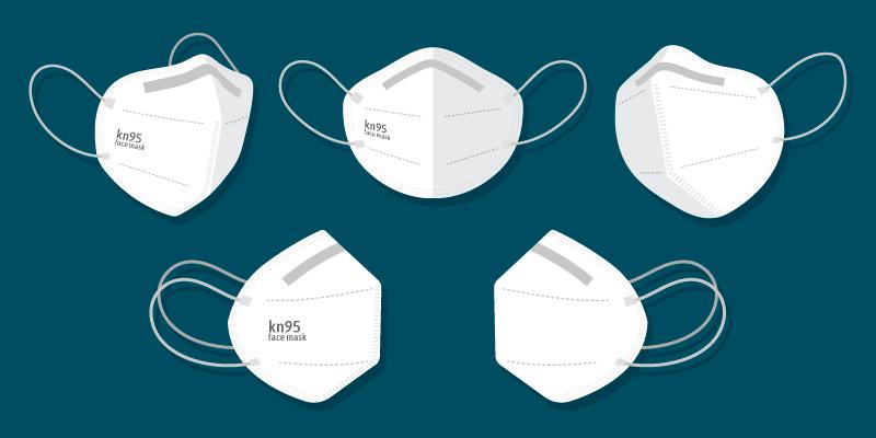 扁平风格不同视角的N95口罩矢量素材(AI+EPS+PNG)