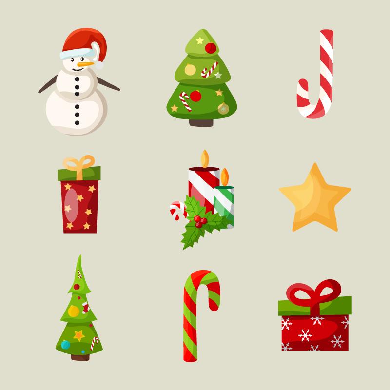 九个可爱的圣诞节图标矢量素材(EPS+PNG)
