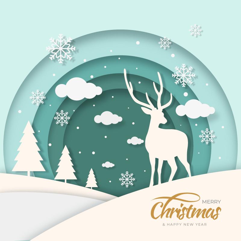 圣诞驯鹿圣诞节背景矢量素材(AI+EPS)