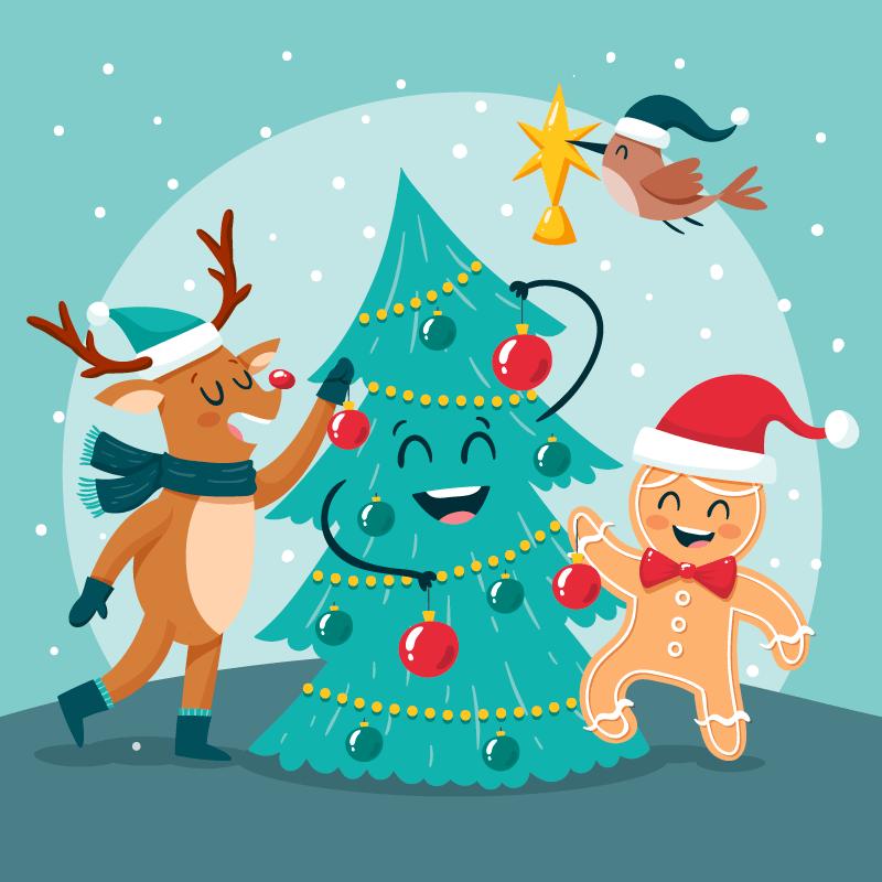 卡通圣诞树圣诞麋鹿圣诞节矢量素材(AI+EPS)