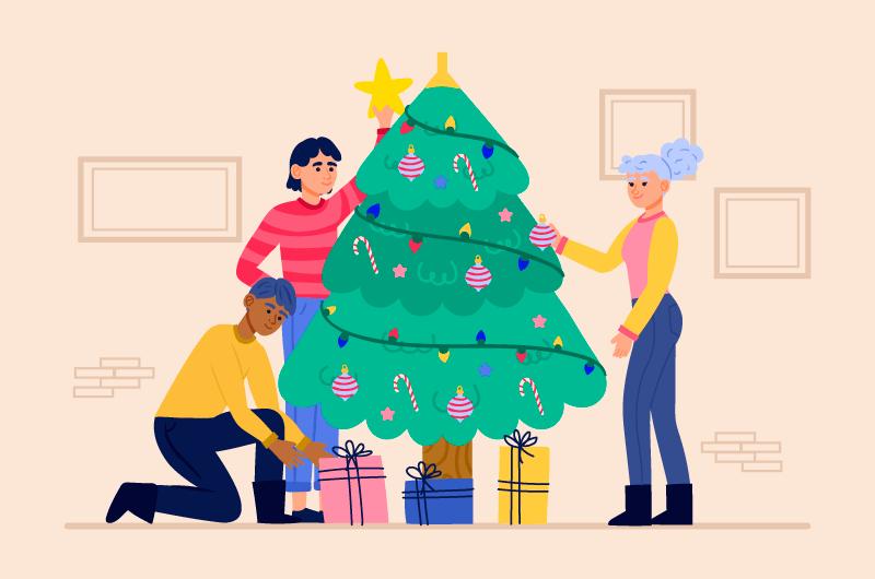 正在装饰圣诞树的人们矢量素材(AI+EPS+PNG)