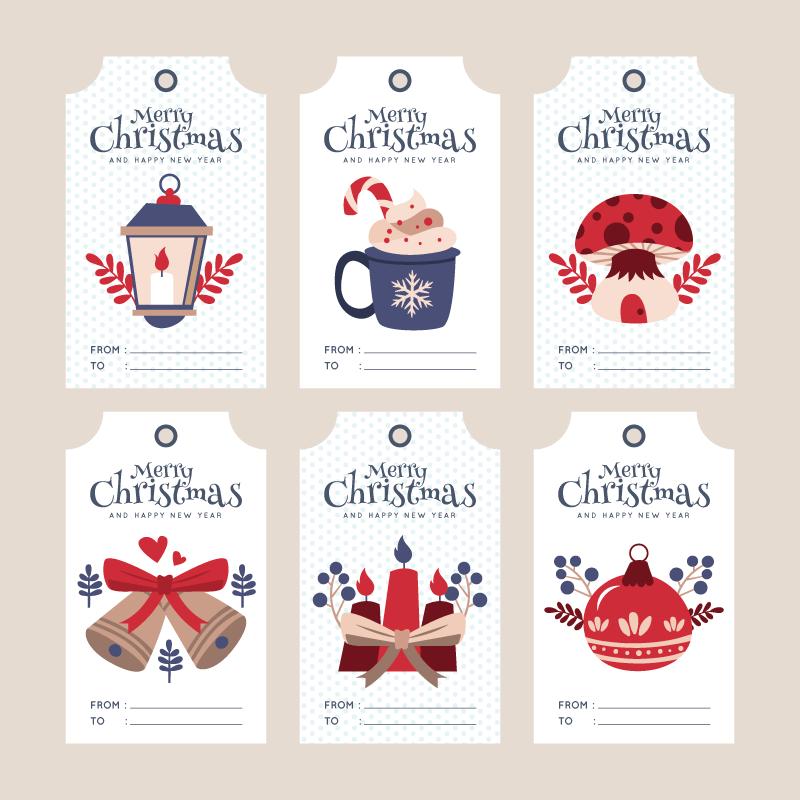 六个圣诞节促销标签矢量素材(AI+EPS+PNG)