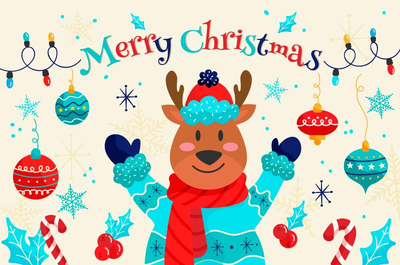 可爱的圣诞麋鹿圣诞节背景矢量素材(AI+EPS)