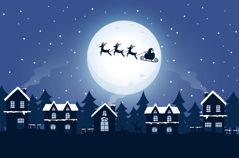 穿梭在夜空中的圣诞老人矢量素材(AI+EPS)