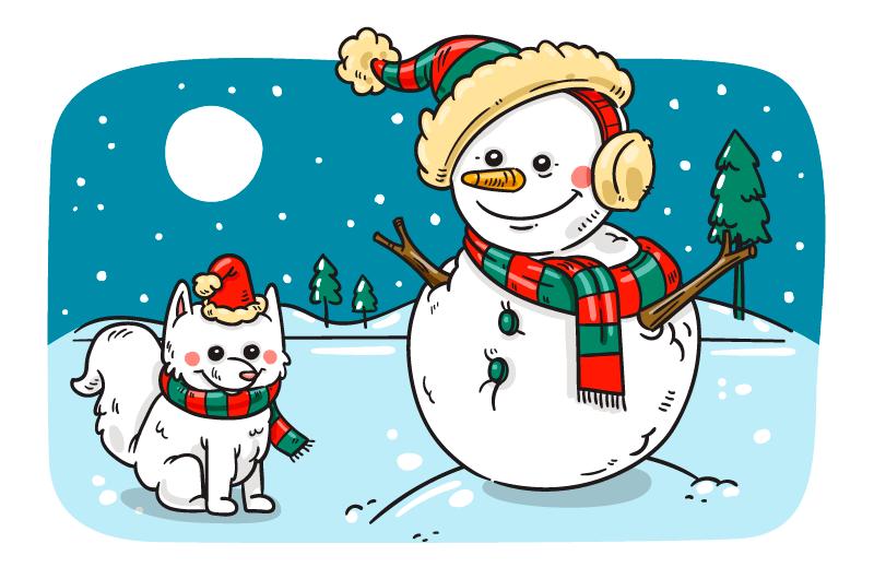 手绘雪人小狗圣诞节背景矢量素材(AI+EPS+PNG)