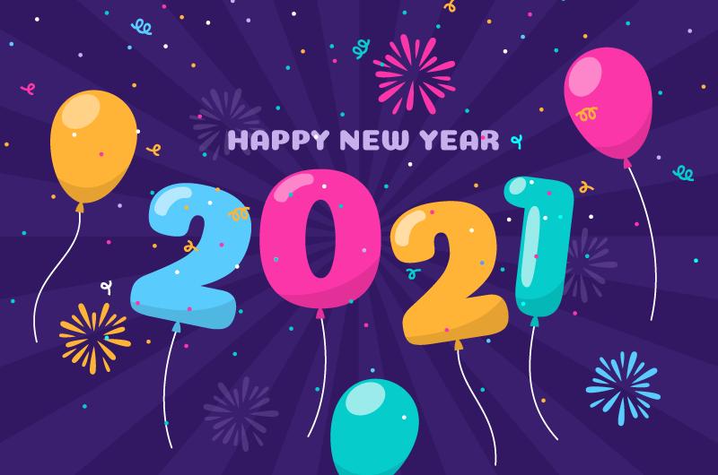 多彩气球和数字2021新年快乐矢量素材(EPS)