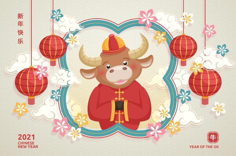 作揖拜年的牛设计2021新年快乐矢量素材(AI+EPS)插图1