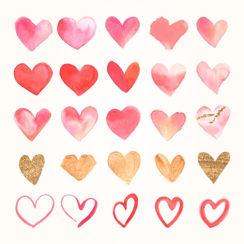 各种各样的水彩爱心矢量素材(EPS)