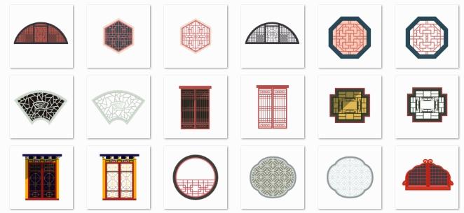 中国风格子窗户图标素材